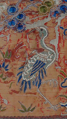 ANTIQUE 19c CHINESE FORBIDDEN STITCH POLICHROME SILK EMBROIDERY PHOENIX BANNER 6