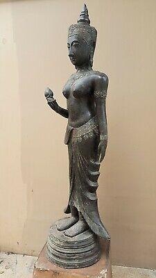 ANTIQUE BRONZE STATUE OF A FEMALE DEVATA, AYUTTHAYA. KHMER INFLUENCE. 19/20th C. 11