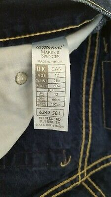 "M&S Marks & Spencer Boys' Navy Blue Jeans Trousers Age 12 Waist 26"" / Leg 29.5"" 4"