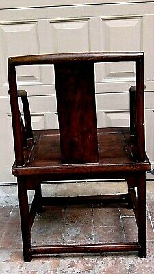 ANTIQUE 19c CHINESE ELM WOOD SQUARE ARMS & BACK  SINGLE SPLAT BACK ARMCHAIR 8