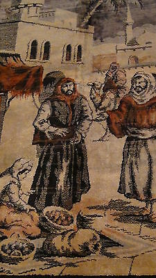 "Antique Persian Islamic Silk Rug Street Market Scene 49"" X 77"" 4"