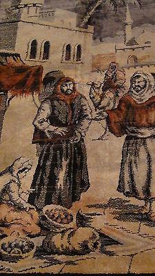 "Antique Persian Islamic Silk Rug Street Market Scene 49"" X 77"" 4"