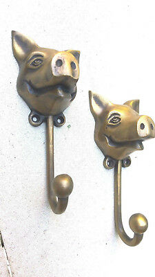 """2 heavy PIG HOOK WALL MOUNTED COAT old style BAG ANIMAL 6"""" HANGER 9"""