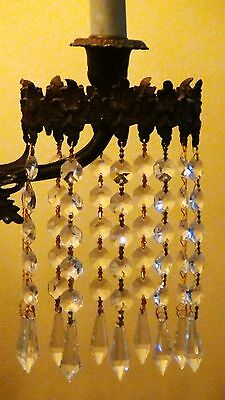 ANTIQUE 19c FRENCH BRONZE GIRANDOLE W/CRYSTAL PRISMS CONVERTED TO ELECTRIC 4