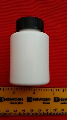 50ml White HDPE plastic lab/sample/specimen bottle black screw top 10,20,30,40 5