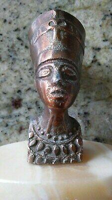 Vintage Antique Statue Sculpture Egyptian Queen Pharaoh Nefertiti Marble Base 4