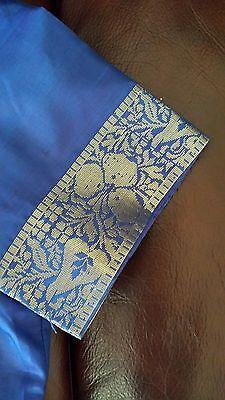 New Pure Soft Silk Royal Blue Gold Floral Zari Saree Sari Party Wedding Bridal 6