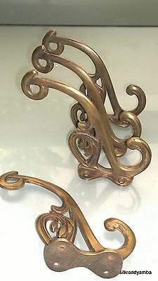"4 hall stand COAT HOOKS door solid brass antiques vintage old style 5"" hook B 5"