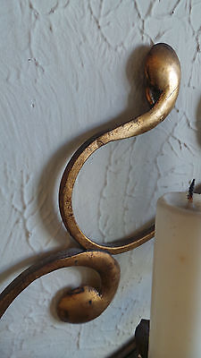 Antique Original Gilded Gold & Metal  Wall Sconce Candle Holders 9