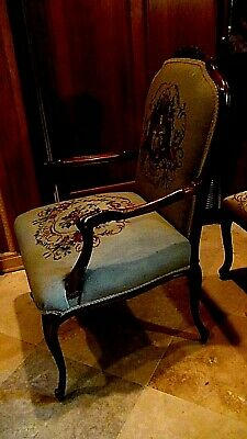 Set Of 2  Antique 1920 Upholstered Armchair And Settee Depicts Of Court Scene 7