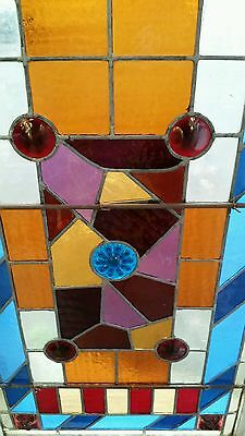 Antique Eastlake Victorian stained glass window. 7