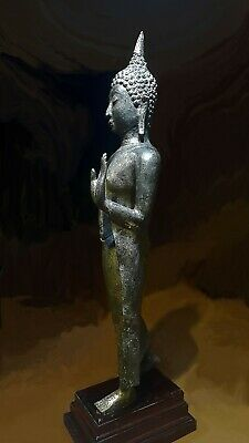 Antique Bronze Sukhothai Walking Buddha, Temple Relic. 19/20Th C. 5
