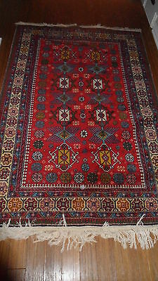 Antique Authentic 100% Wool Hand Made Knotted Vintage Kazak Rug 6