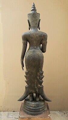 ANTIQUE BRONZE STATUE OF A FEMALE DEVATA, AYUTTHAYA. KHMER INFLUENCE. 19/20th C. 8