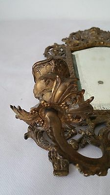 Antique France Style Gold Gilt wall Mirror with 2 Candle Sconces 7