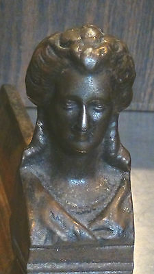 ANTIQUE FRENCH 1820c BRONZE FIGURALWOMAN BUST ANDIRON #2 3