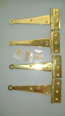 "4 POLISHED 6 "" hinges vintage old style solid Brass DOOR BOX restoration heavy B 3"