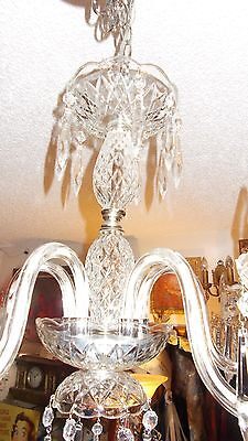 Antique Maria Theresa Crystal Prism 5 Arm Chandelier from Boston Archit Salvage 4