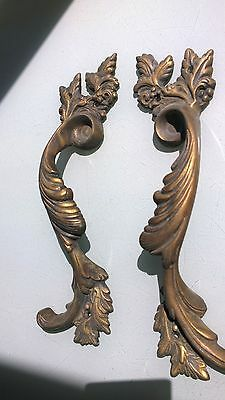 "4 Large handle DOOR PULLS solid BRASS old vintage antique style 11 "" long heavyB 7"
