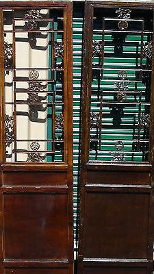 Two Antique 19C Chinese Transom Panel/door Elm Wood W/ Open Lattice Upper Panel 2