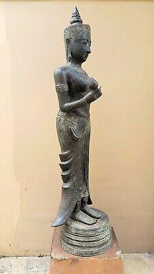 ANTIQUE BRONZE STATUE OF A FEMALE DEVATA, AYUTTHAYA. KHMER INFLUENCE. 19/20th C. 3