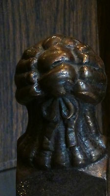 ANTIQUE FRENCH 1820c BRONZE FIGURALWOMAN BUST ANDIRON #2 7