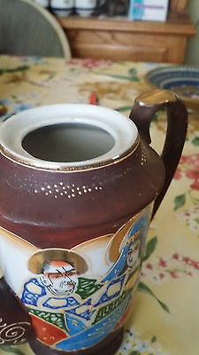 "6 1/2"" Satsuma Moriage Style Teapot With Man + Woman Immortals No Lid Vintage"