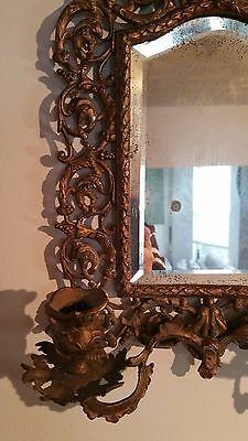 Antique France Style Gold Gilt wall Mirror with 2 Candle Sconces 4
