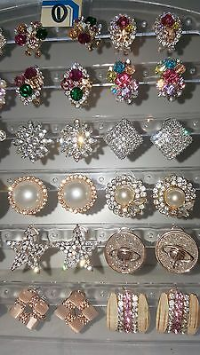 Job lot 18 Pairs Mixed Design Sparkly Diamante stud Earrings NEW Wholesale lot 1 5