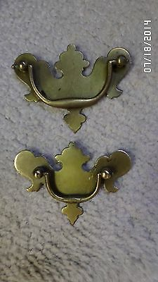 "202D Vtg 14 Bat Wing Drawer Handles/Pulls 4=3 3/4"" Wide & 10=3 1/2"" Wide Brass 3"