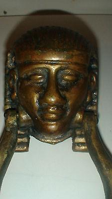 Antique Bronze Egyptian  Revival Pharaoh,s Head Door Knocker   Not A Repro 3