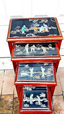 Set Of 4 Antique Chinese Painting & Stone,jade Imlayed Nesting Tables,glass Top 4