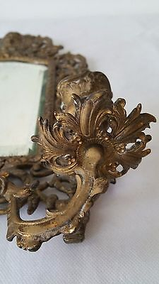 Antique France Style Gold Gilt wall Mirror with 2 Candle Sconces 8