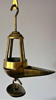 Antigua Lámpara De Aceite - Siglo Xix - Candil De Pico Bronce 7