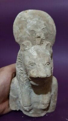 ANCIENT EGYPTIAN ANTIQUES Half STATUE Of GODDESS SEKHMET EGYPT Luxor STONE BC 4