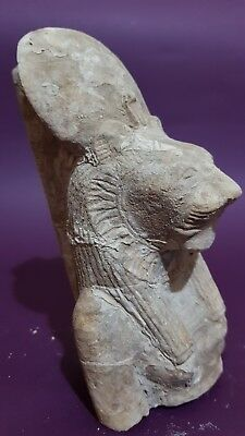 ANCIENT EGYPTIAN ANTIQUES Half STATUE Of GODDESS SEKHMET EGYPT Luxor STONE BC 3