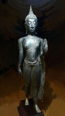 Antique Bronze Sukhothai Walking Buddha, Temple Relic. 19/20Th C. 2