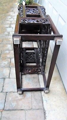 Antique Chinese Rosewood Handcarved Pierced Dragon Step Tansu Plant Stand #2 11