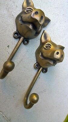 """2 heavy PIG HOOK WALL MOUNTED COAT old style BAG ANIMAL 6"""" HANGER 10"""
