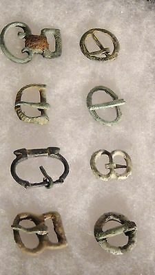 Set Of 17 Ancient Roman Bronze Ribbon Buckles