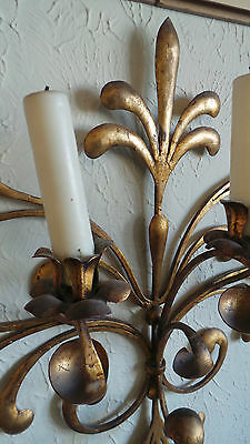 Antique Original Gilded Gold & Metal  Wall Sconce Candle Holders 8