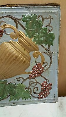 """24"""" x 24"""" Antique Ceiling Embossed Tin Tile with grapes and urn  RARE. (#2)"""