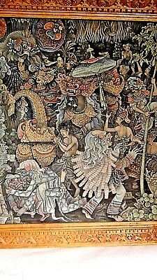 ANTIQUE 19c BALINESE A RAIYASA INTRICATE POLYCHROME INK ON CLOTH PAINTING,SIGNED
