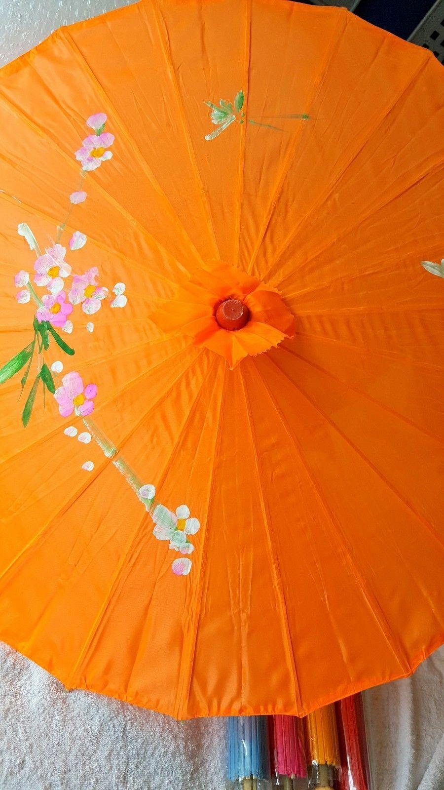 Joblot of 10 Chinese Silk & Bamboo Umbrella Parasol New Wholesale 4