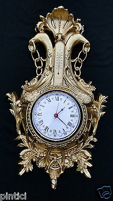 Wall Clock Nostalgia with Thermometer Gold 38x65 Vintage Art Nouveau Antique 3