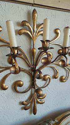 Antique Original Gilded Gold & Metal  Wall Sconce Candle Holders 2