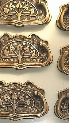 6 large DECO cabinet handles solid brass furniture antiques age old style 11cmB 6
