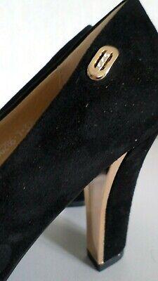 Super Me Damenschuhe Schuhe Pumps High Heels Plateau Schwarz//Gold  Gr.38,5 NEU