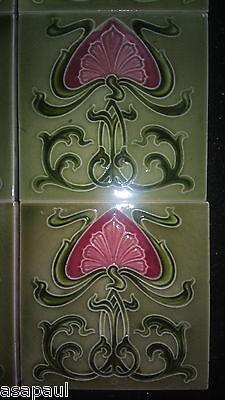 Antique Art Nouveau fireplace tiles (x10) - green with pink flower design. 6