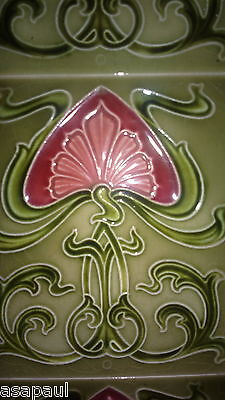 Antique Art Nouveau fireplace tiles (x10) - green with pink flower design. 10